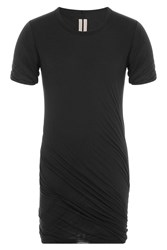 Rick Owens Men Draped Cotton T Shirt Black