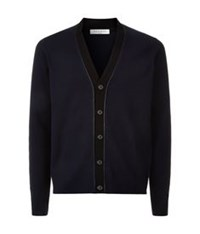 Sandro Merino Wool V Neck Cardigan Blue