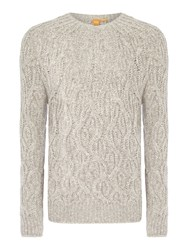 Hugo Boss Kradull Chunky Cable Knit Crew Neck Jumper Oatmeal