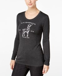 G.H. Bass And Co. Deer Graphic Top Heather Charcoal