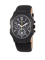 Philip Stein Teslar Stainless Steel And Leather Strap Quartz Watch Black