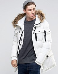 Brave Soul Arctic Faux Fur Hooded Parka Jacket White