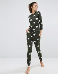New Look Star Print Pyjama Jogger Green Pattern