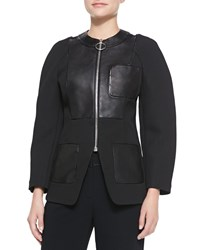 Alexander Wang Zip Up Blazer With Leather Detail Onyx