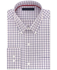 Tommy Hilfiger Men's Classic Fit Non Iron Red Check Dress Shirt Dark Red