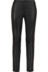 Emilio Pucci Chain Trimmed Stretch Leather Skinny Pants
