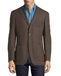 Luciano Barbera Striped Wool Three Button Jacket Brown Multi