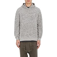 John Elliott Men's Oversized Cropped Cotton Blend Hoodie Grey