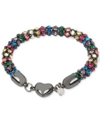 Betsey Johnson Hematite Tone Multi Crystal Heart Bracelet