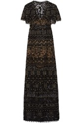 Emilio Pucci Cutout Embellished Corded Lace Gown Black