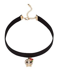 Cara Crystal Skull Pendant Choker Necklace Black