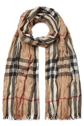 Burberry Shoes And Accessories Wool Cashmere Giant Check Crinkle Scarf Beige