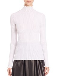 Derek Lam Ruffle Edge Turtleneck Sweater White