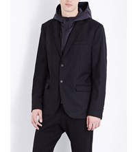 The Kooples Fitted Wool Blend Jacket Black