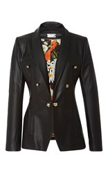 Alexis Mabille Black Organic Leather Tuxedo Jacket