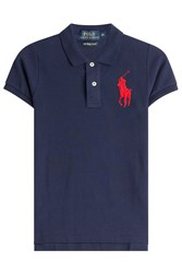 Polo Ralph Lauren Cotton Polo Shirt With Oversized Logo Blue