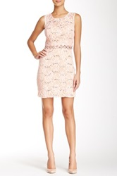 City Triangles Sleeveless Illusion Lace Bodycon Homecoming Dress Pink