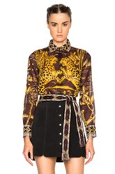 Valentino Jaguar Print Blouse In Purple Yellow Abstract