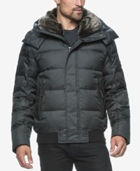 Marc New York Men's Kane Rockingham Puffer Bomber With Faux Fur Collar Black