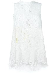 Ermanno Scervino Bow Detail Lace Tank Top White