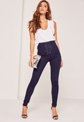 Missguided High Waisted Lace Up Skinny Jeans Blue