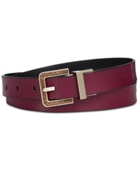 Calvin Klein Reversible Flat Stripe Belt Oxblood Gold