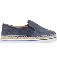 Jimmy Choo Dawn Denim Leather Espadrilles Light Indigo