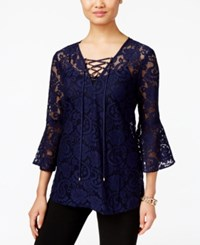 Eci Lace Peasant Blouse Navy