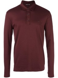 Michael Kors Long Sleeved Polo Shirt Pink Purple