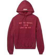Vetements Oversized Printed Loopback Cotton Blend Jersey Hoodie Red