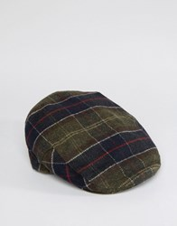 Barbour Wool Tartan Flat Cap Navy Green