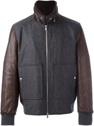 Brunello Cucinelli Contrast Sleeve Bomber Jacket Grey