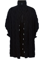 Lost And Found Cable Knit Zip Cardigan Black