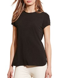 Lauren Ralph Lauren Faux Leather Trim Jersey Tee Black