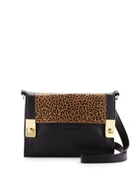 See By Chloe Jill Leopard Print Leather Crossbody Bag Nut Black