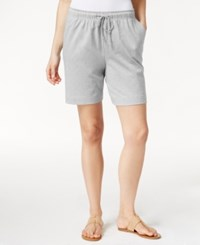 Karen Scott Petite Drawstring Knit Shorts Only At Macy's Pale Grey Heather