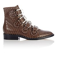 Givenchy Women's Studded Buckle Strap Ankle Boots Brown
