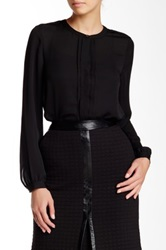 Laundry By Shelli Segal Pleated Accent Long Sleeve Blouse Black