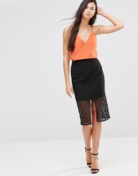 Finders Keepers Stand Still Lattic Detail Skirt Lattice Black