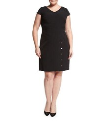 Shazdeh Fashions Cap Sleeve Snap Detail Dress Black
