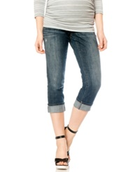 Motherhood Maternity Distressed Cropped Jeans Dark Wash