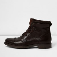 River Island Mens Brown Leather Work Boots