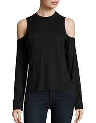 Bb Dakota Crewneck Ribbed Cold Shoulder Tee Black