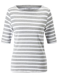 John Lewis Breton Stripe Half Sleeve T Shirt Grey White
