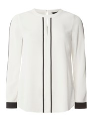 Dorothy Perkins Keyhole Contrast Top White
