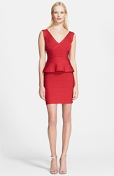 Herve Leger Sleeveless V Neck Peplum Dress Lipstick Red