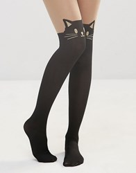 Leg Avenue Black Cat Opaque Tights Black And Nude