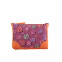 Fonfique Talitha Pouch In Sparkle Burgundy Pink Purple Yellow