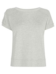 Karen Millen Eyelet Detail Boxy Sweat Top Pale Grey