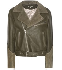 Ganni Lloyd Leather And Suede Jacket Green